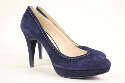 Prada Size 37.5 Navy Blue Pumps Lbslm43