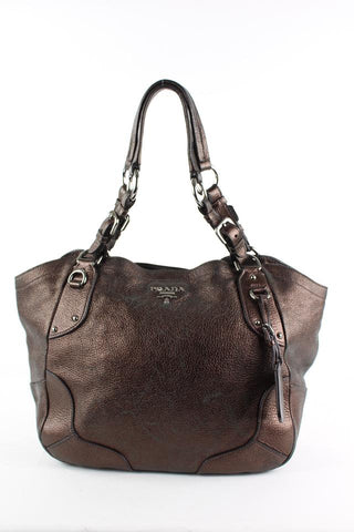 Prada Bronze Leather ChainTote Shoulder Bag 20pr1228