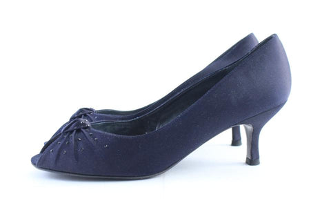 Stuart Weitzman Navy Satin Knot Twist Kitten Open Toe Heel3MR0222