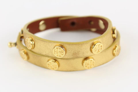 Tory Burch Gold Studded Double Wrap Bracelet 4toy1229