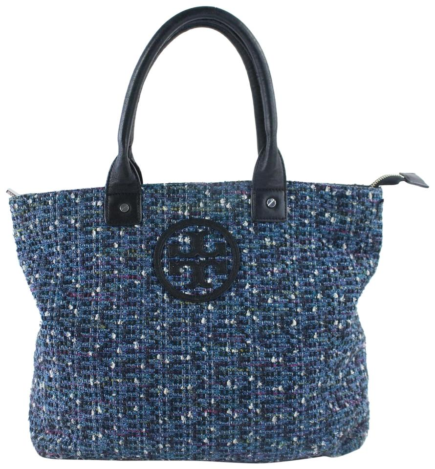 Tory Burch Jayden Logo 24mz0731 Blue Tweed Tote