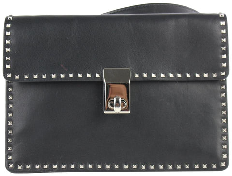 Valentino Small Rockstud 12me0102 Black Calfskin Leather Cross Body Bag