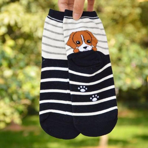 3D Dog Animals Puppy Print Cotton Short Ankle Socks - UYL Online Store