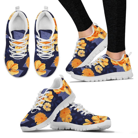 Purple and Yellow Floral Women's Sneakers - UYL Online Store
