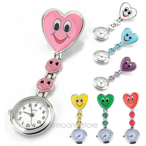 Cute Smiling Faces Heart Clip-On Pendant Nurse Fob Brooch Pocket Watch