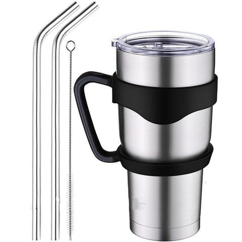 Insulated Tumbler Travel Mug, Double Wall Vacuum Stainless Steel Cup Bundle with Lid, Handle, 2 Curved Straws