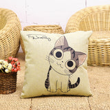 Stylish Cat Cartoon Design Canvas Pillow Case