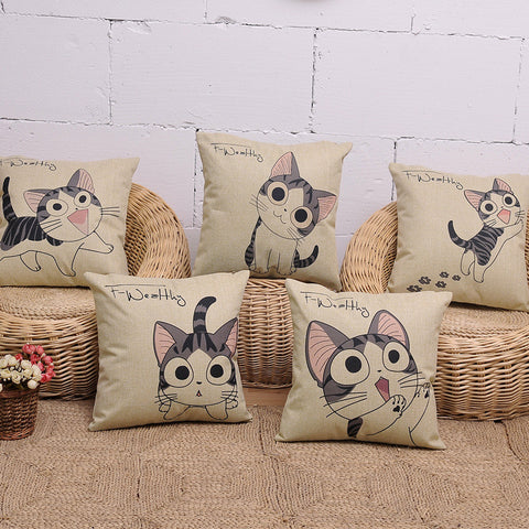 Stylish Cat Cartoon Design Canvas Pillow Case - UYL Online Store