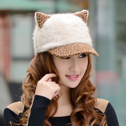 Women's Baseball Cap Cat Ears Cap Leopard Print Rabbit Fur Hat Female Lady Warm Winter Cap