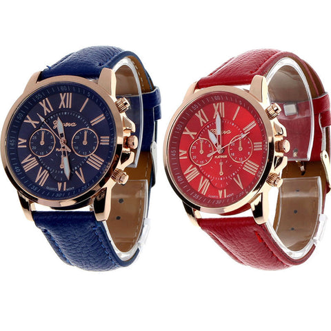 Geneva Women Fashion Quartz Watches With Leather Wrist Band - UYL Online Store