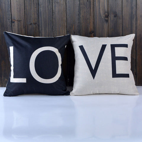 Love Design Couple Black and White Elegant Pillow Case