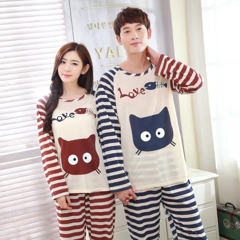 High Quality Cotton Couple Sleepwear Pajamas