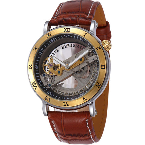 Sewor Skeleton Style Watch with Leather Strap - UYL Online Store