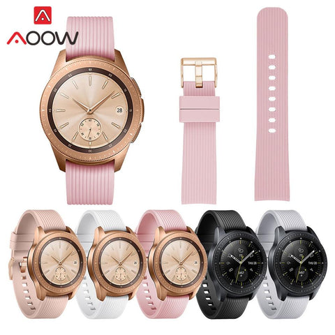 Silicone Rose Gold Buckle Watchband for Samsung Galaxy Watch