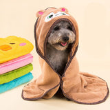 Super Absorbent Cartoon Animal Hooded Pet Cleaning Drying Bath Robe - UYL Online Store