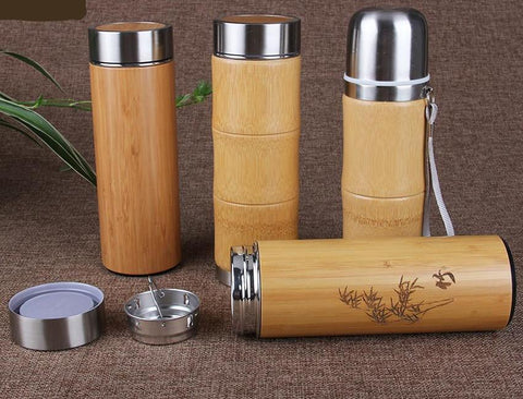 Stainless Steel Bamboo Travel Thermos Cup Vacuum Flask - UYL Online Store