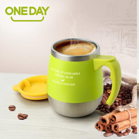 Stainless Steel Anti-Dust  Candy Color Coffee Cup
