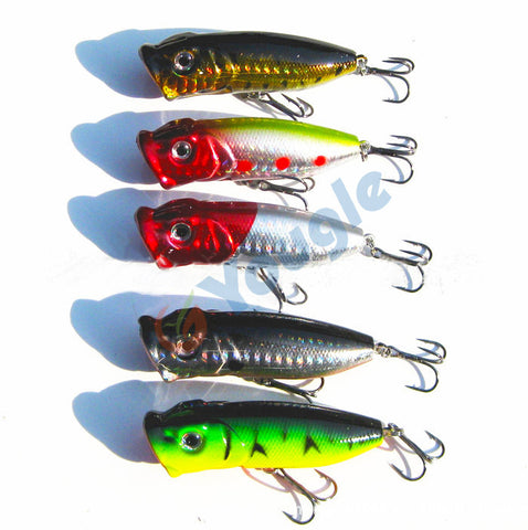 Hard Plastic Fishing Lure Bait Tackle Minnow Bass Fish Hook (5pcs)