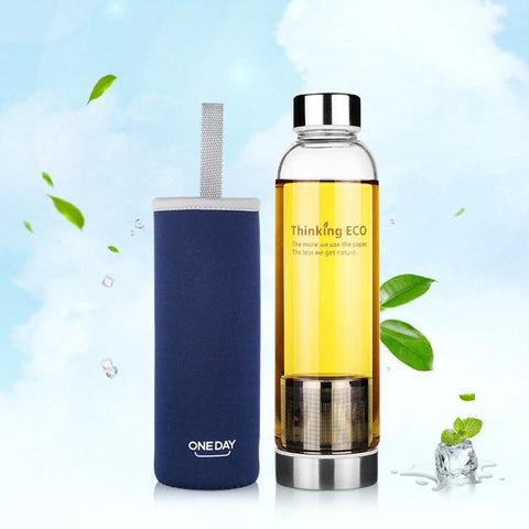 550ML Glass Tea Infuser Water Bottle With Stainless Steel Filter - UYL Online Store