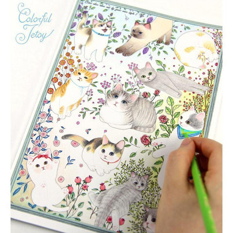 Cute Cartoon Cat Coloring Book for Children and Adult