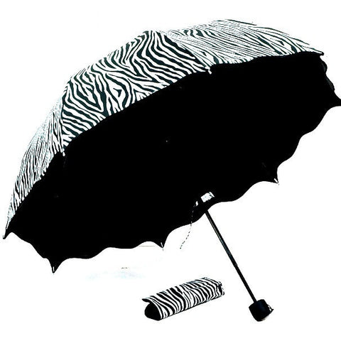 High Quality 3-Fold Black Zebra coating for Sun and Rain Umbrella