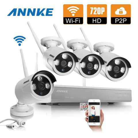 720P Wireless 4CH NVR Kit P2P 1.0MP IR Night Vision Security IP Camera