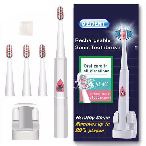 Adult Ultrasonic Toothbrush With 4 Brush Heads