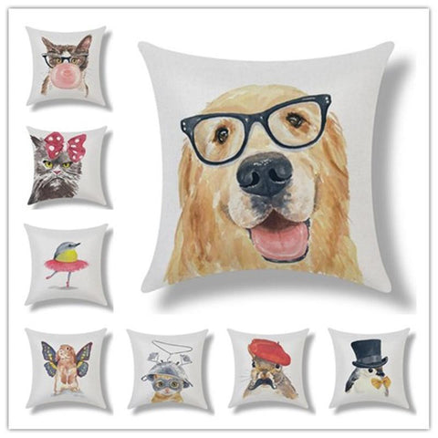 American Cartoon Style Pets Design Cushion Pillow Case