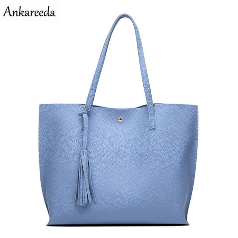 Women Shoulder Bag Soft Leather Tassel Tote TopHandle Handbag