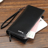 Solid PU Leather Long Business Wallet for Men - UYL Online Store