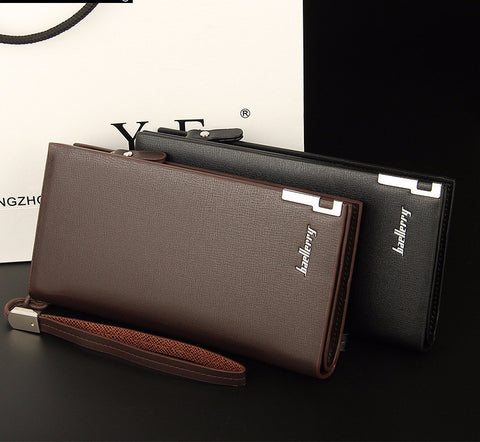 Solid PU Leather Long Business Wallet for Men