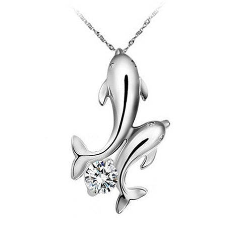 Silver Plated Double Dolphins Pendant Charm Chain Necklace Jewelry