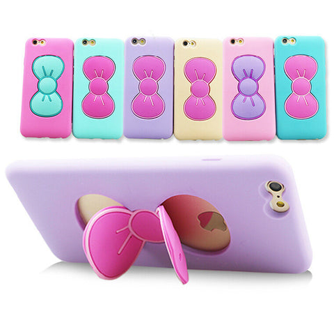 Fashion 3D Cartoon Butterfly Bow Silicone TPU Cases Fashion Stand Holder Cover - UYL Online Store