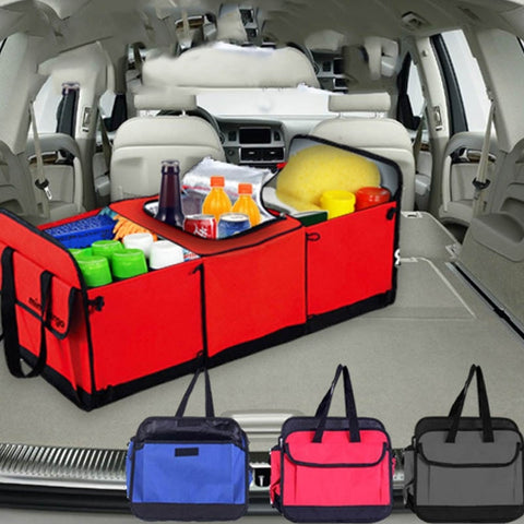 Foldable Multi Compartment Auto Storage Basket Trunk Organizer and Cooler Set