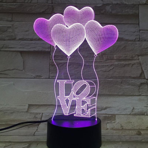 3D Colorful Acrylic Stereo Heart Night Light - UYL Online Store