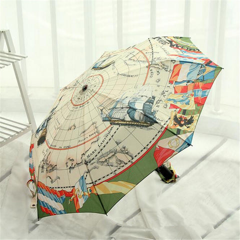 High Quality Fully-Automatic 3-Fold Graphic Colored Map Umbrella - UYL Online Store