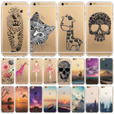Ultra Soft TPU Silicon Transparent Flowers Animals Scenery Mobile Phone Cover