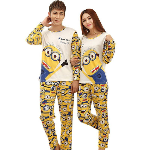 Autumn Long-Sleeve Cartoon Lovers Couples Matching Pajamas