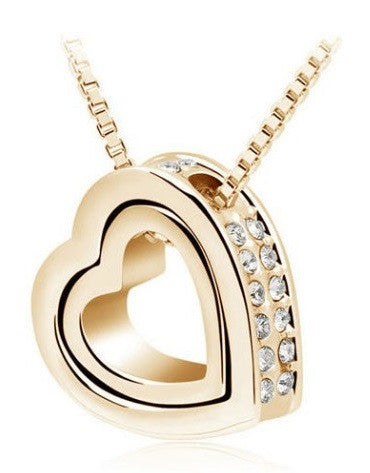 Heart Crystal Necklaces & Pendants 18K Gold And Silver Plated Jewelry - UYL Online Store