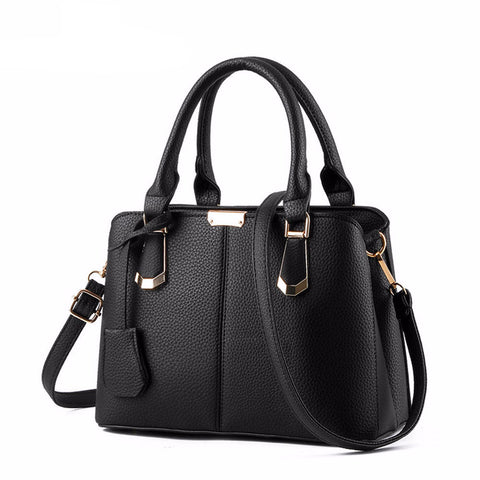 PU Leather Top-handle Women Handbag Solid Ladies Shoulder Bag Casual Large Capacity Tote Crossbody Bags