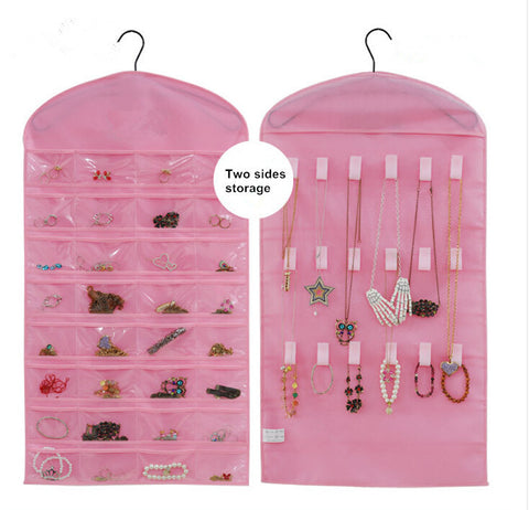Hanging Pink Dress Jewelry Bag Pouches Holder Fabric Jewelry Storage & Display Organizer