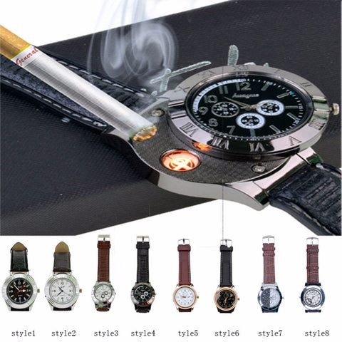 MILITARY MEN'S QUARTZ WATCH WITH USB CIGARETTE LIGHTER