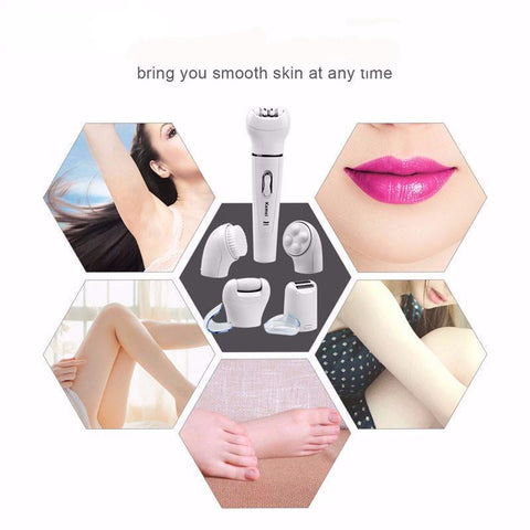 5-in-1 Women Hair Remover, Massager and Brush