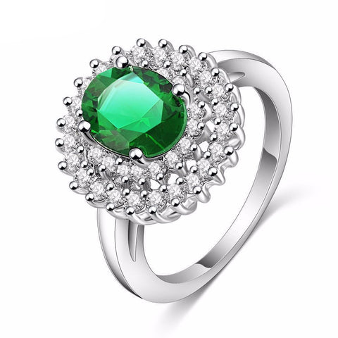 Emerald Stone Silver Women's Ring