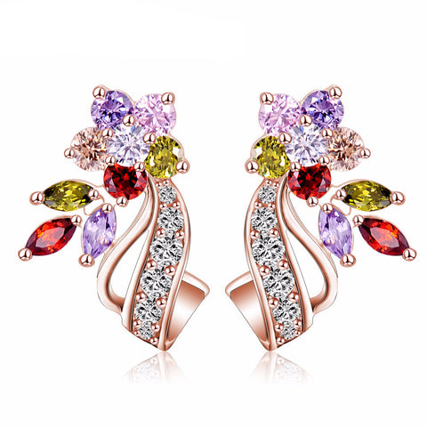 Zirconia Stone Flower Stud Earrings