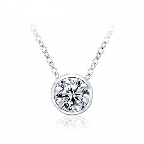 Round Silver Pendant Necklace