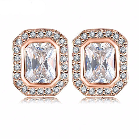 Square Rose Gold Plated Earrings
