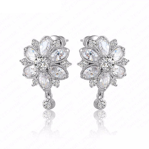 Flower Studs Silver Earrings