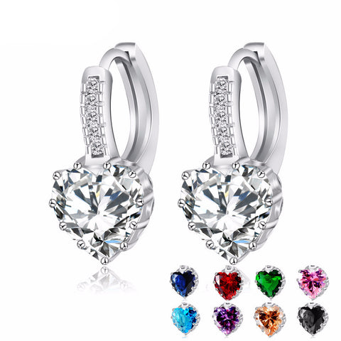 Heart Shape Diamond Silver Earrings
