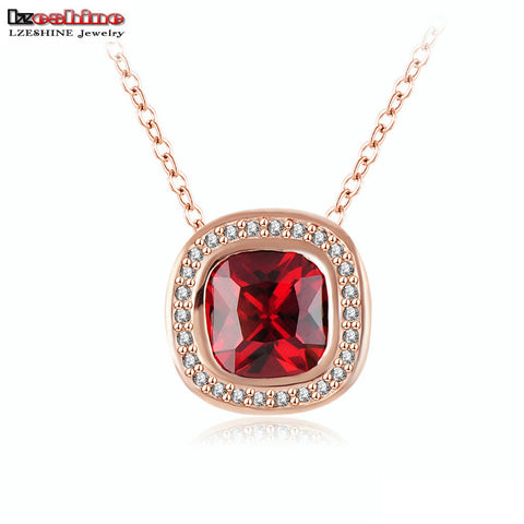Red Stone Square Pendant Necklace